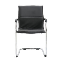 Essen stackable meeting room cantilever chair - black faux leather
