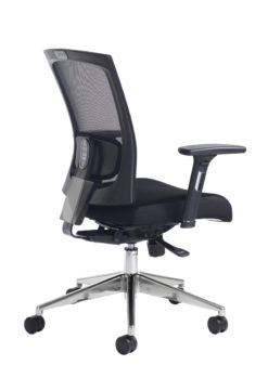 Gemini mesh task chair with adjustable arms - black