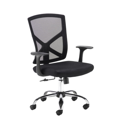 Nobis Office Furniture - Hale black mesh back operator chair with black fabric seat and chrome base