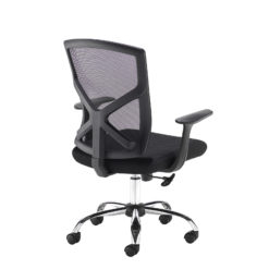 Hale black mesh back operator chair with black fabric seat and chrome base