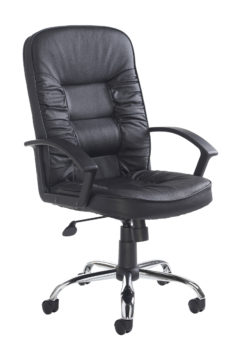 Nobis Office Furniture - Hertford high back managers chair - black leather faced