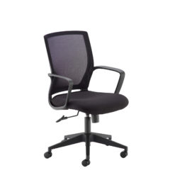 Nobis Office Furniture - Jonas black mesh back operator chair with black fabric seat and chrome base