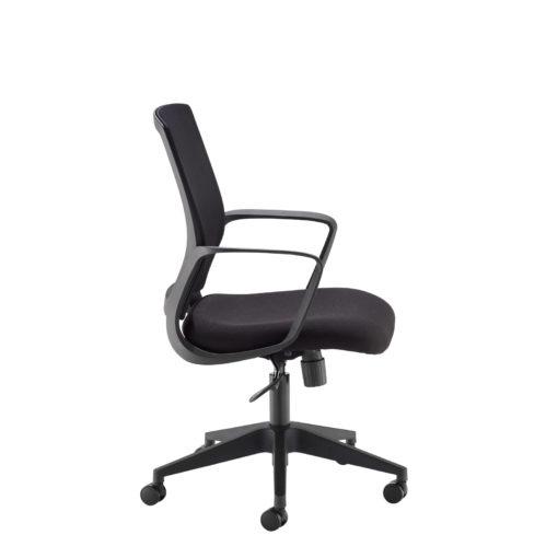 Jonas black mesh back operator chair with black fabric seat and chrome base