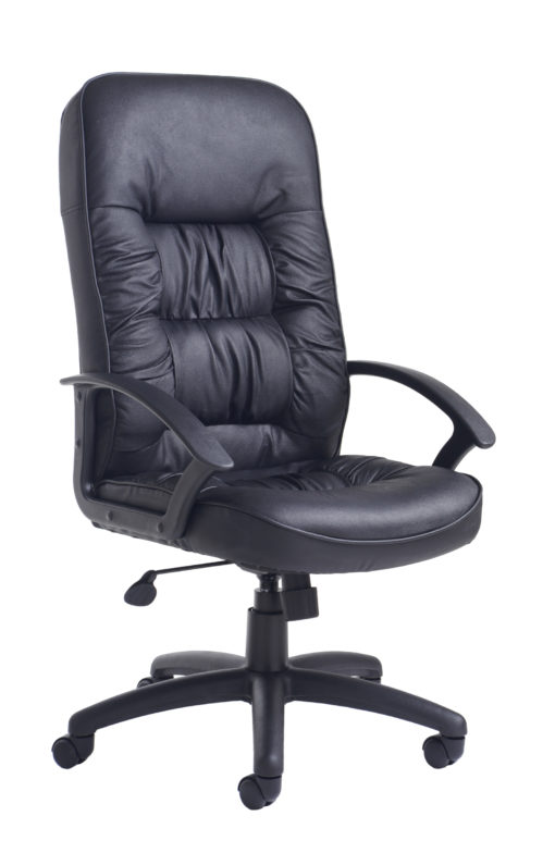 Nobis Office Furniture - King high back managers chair - black leather faced