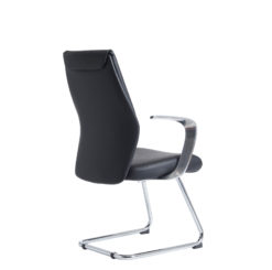 Limoges executive visitors chair - black leather faced