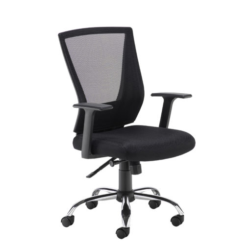 Nobis Office Furniture - Miller black mesh back operator chair with black fabric seat and chrome base