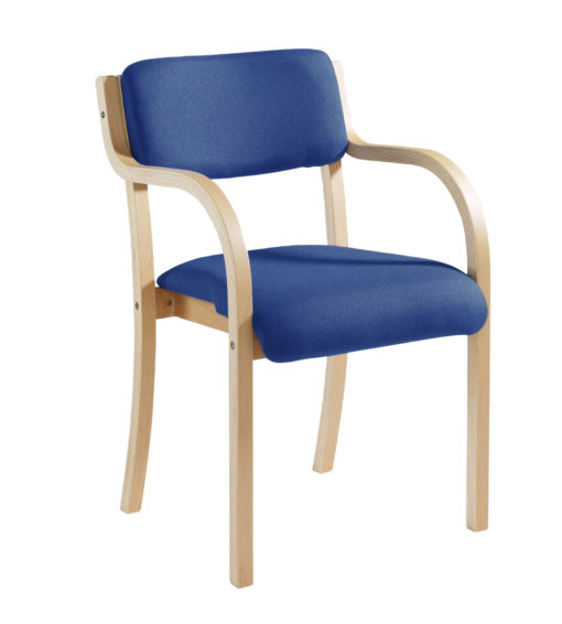 Nobis Office Furniture - Prague wooden conference chair with double arms - blue