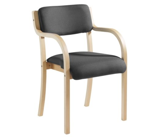 Nobis Office Furniture - Prague wooden conference chair with double arms - charcoal