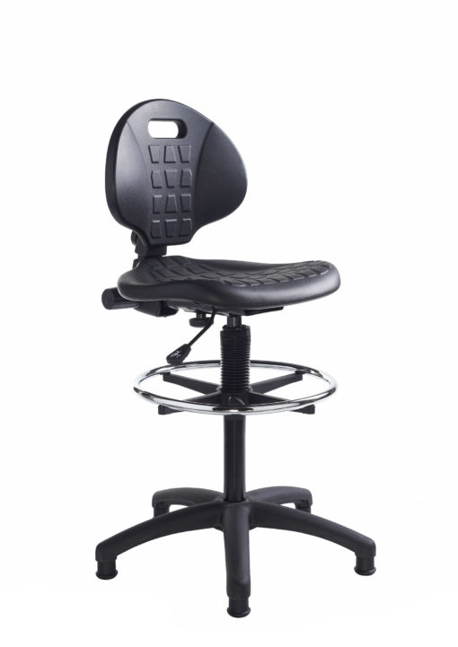 Nobis Office Furniture - Prema polyurethane industrial operator chair with contoured back support - black