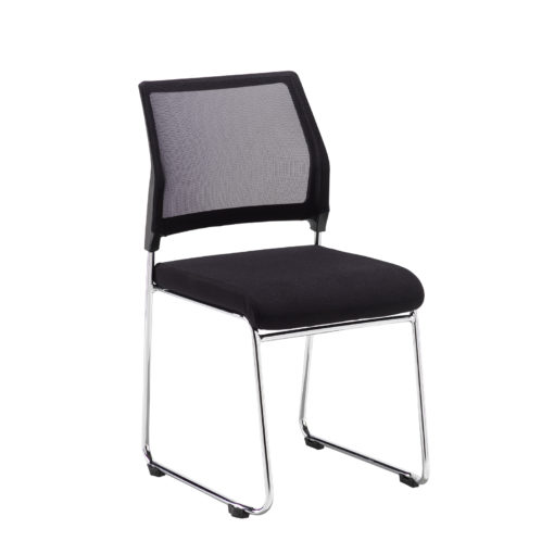 Nobis Office Furniture - Quavo black mesh back multi-purpose chair with black fabric seat and chrome wire frame (pack of 4)