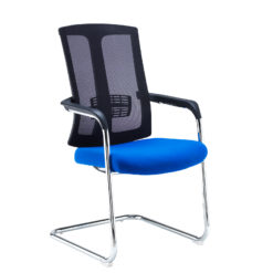 Nobis Office Furniture - Ronan chrome cantilever frame conference chair with mesh back - blue