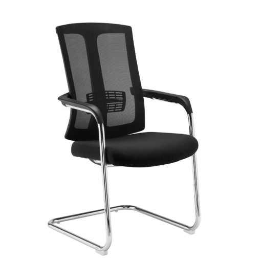 Nobis Office Furniture - Ronan chrome cantilever frame conference chair with mesh back - black