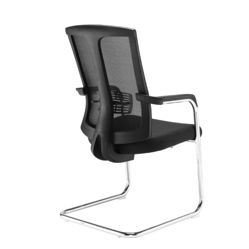 Ronan chrome cantilever frame conference chair with mesh back - black