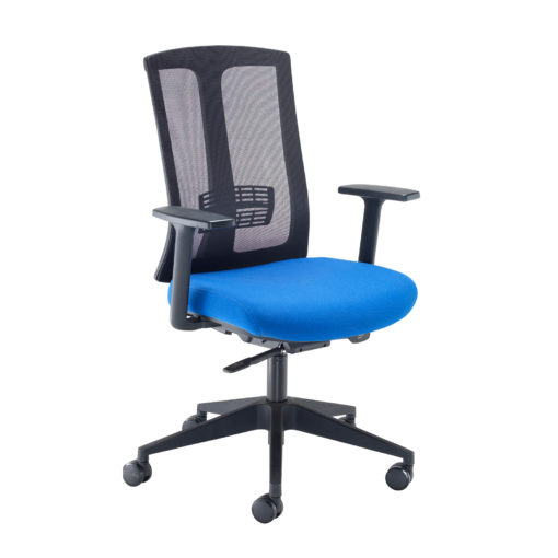 Nobis Office Furniture - Ronan mesh back operators chair with fixed arms - blue