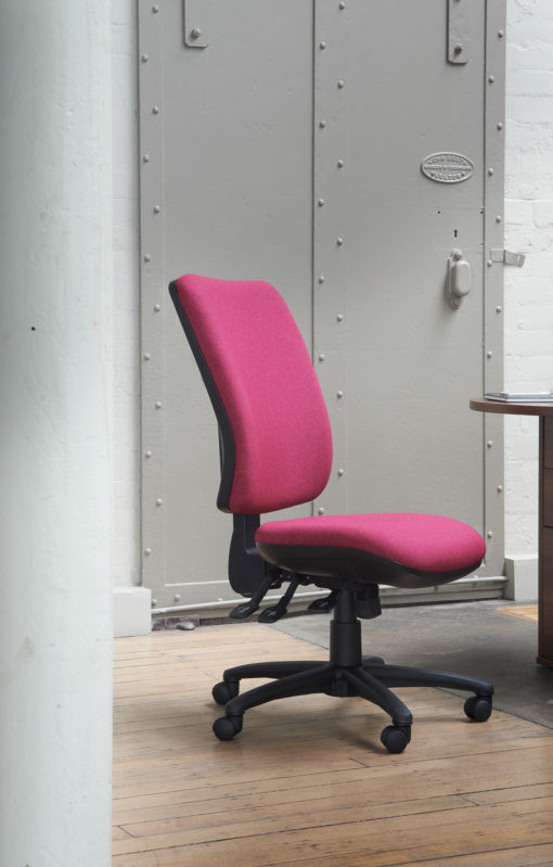Senza high back operator chair with folding arms - red