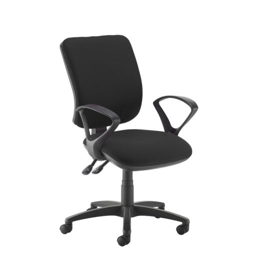 Nobis Office Furniture - Senza high back operator chair with fixed arms - black