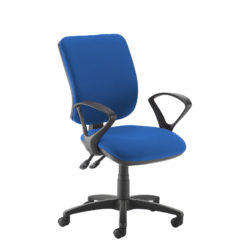 Nobis Office Furniture - Senza high back operator chair with fixed arms - blue