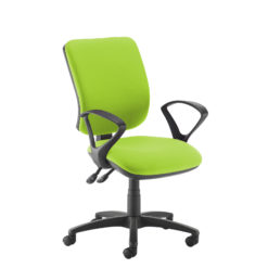 Nobis Office Furniture - Senza high back operator chair with fixed arms - green