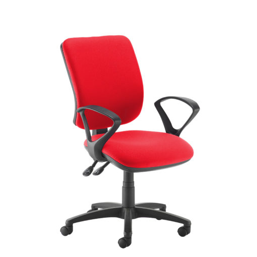 Nobis Office Furniture - Senza high back operator chair with fixed arms - red