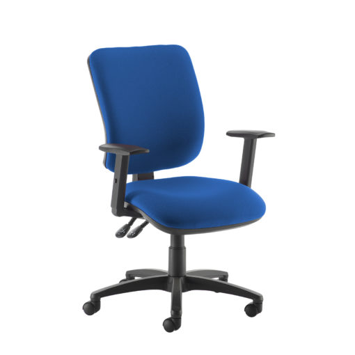 Nobis Office Furniture - Senza high back operator chair with adjustable arms - blue
