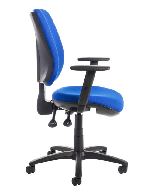 Senza high back operator chair with adjustable arms - blue