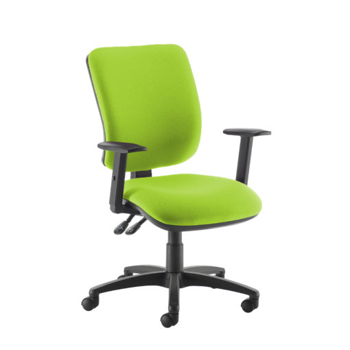 Nobis Office Furniture - Senza high back operator chair with adjustable arms - green