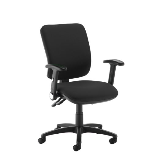 Nobis Office Furniture - Senza high back operator chair with folding arms - black