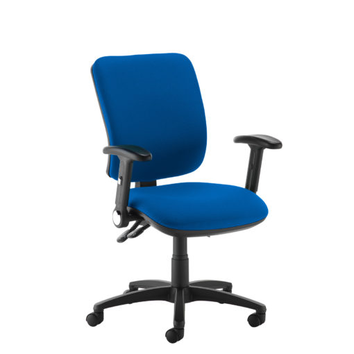 Nobis Office Furniture - Senza high back operator chair with folding arms - blue