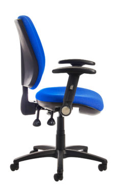 Senza high back operator chair with folding arms - blue