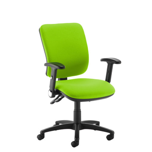 Nobis Office Furniture - Senza high back operator chair with folding arms - green