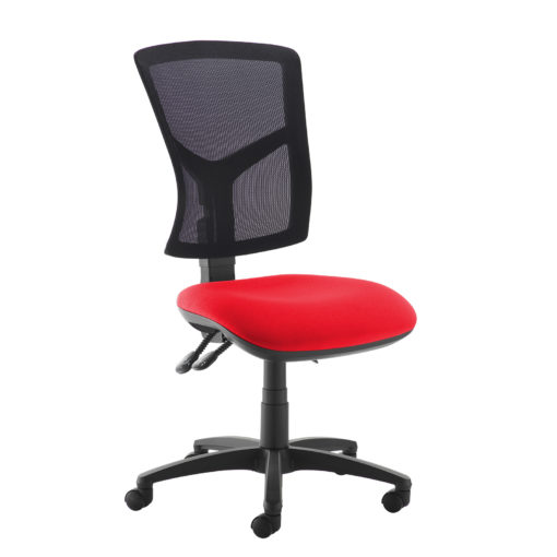 Nobis Office Furniture - Senza high mesh back operator chair with no arms - red