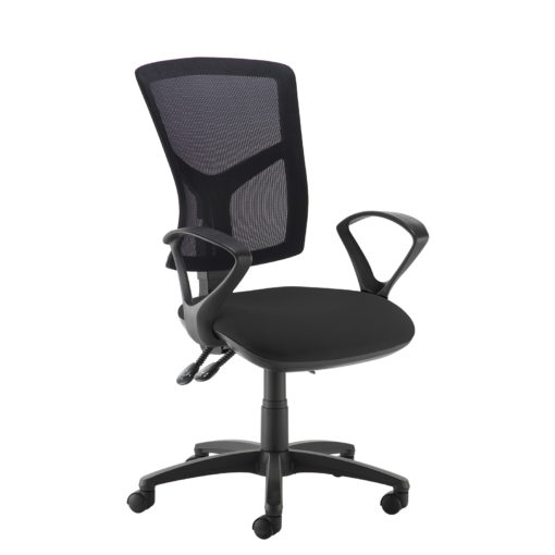 Nobis Office Furniture - Senza high mesh back operator chair with fixed arms - black
