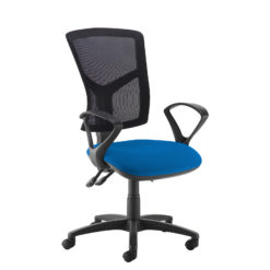 Nobis Office Furniture - Senza high mesh back operator chair with fixed arms - blue