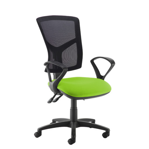 Nobis Office Furniture - Senza high mesh back operator chair with fixed arms - green