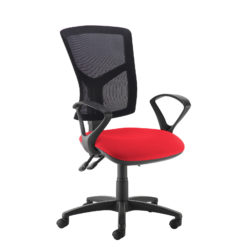 Nobis Office Furniture - Senza high mesh back operator chair with fixed arms - red