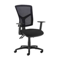 Nobis Office Furniture - Senza high mesh back operator chair with adjustable arms - black