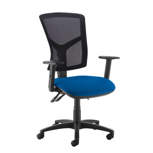 Nobis Office Furniture - Senza high mesh back operator chair with adjustable arms - blue