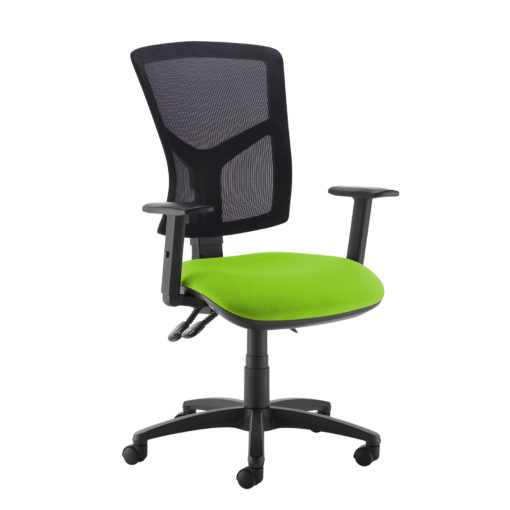 Nobis Office Furniture - Senza high mesh back operator chair with adjustable arms - green