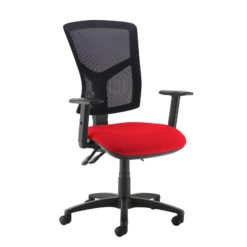 Nobis Office Furniture - Senza high mesh back operator chair with adjustable arms - red