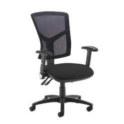 Nobis Office Furniture - Senza high mesh back operator chair with folding arms - black