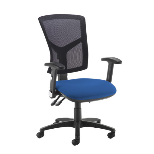 Nobis Office Furniture - Senza high mesh back operator chair with folding arms - blue