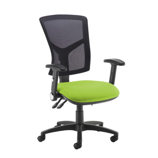 Nobis Office Furniture - Senza high mesh back operator chair with folding arms - green