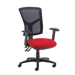Nobis Office Furniture - Senza high mesh back operator chair with folding arms - red