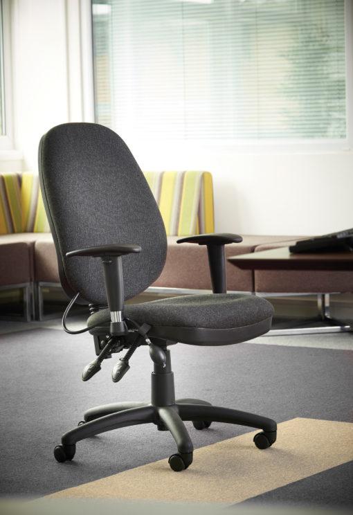 Sofia adjustable lumbar operators chair - charcoal
