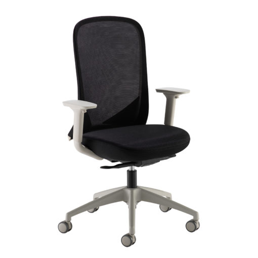 Nobis Office Furniture - Sway black mesh back adjustable operator chair with black fabric seat