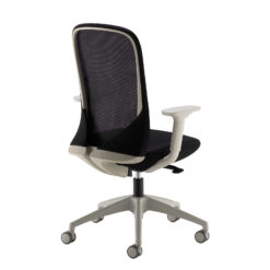 Sway black mesh back adjustable operator chair with black fabric seat