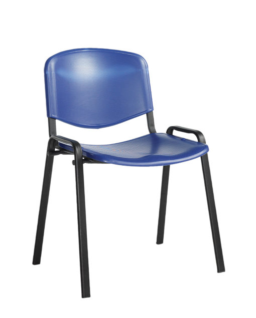 Nobis Office Furniture - Taurus plastic meeting room stackable chair with no arms - blue with black frame