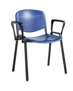 Nobis Office Furniture - Taurus plastic meeting room stackable chair with fixed arms - blue with black frame