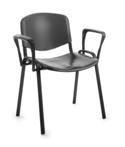 Nobis Office Furniture - Taurus plastic meeting room stackable chair with fixed arms - black with black frame