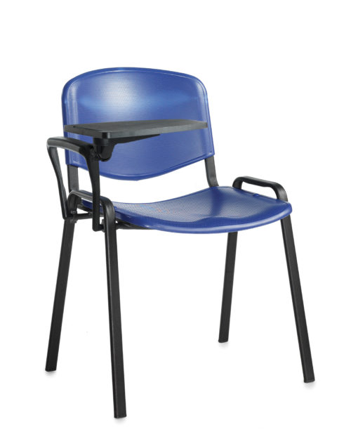 Nobis Office Furniture - Taurus plastic meeting room chair with writing tablet - blue with black frame